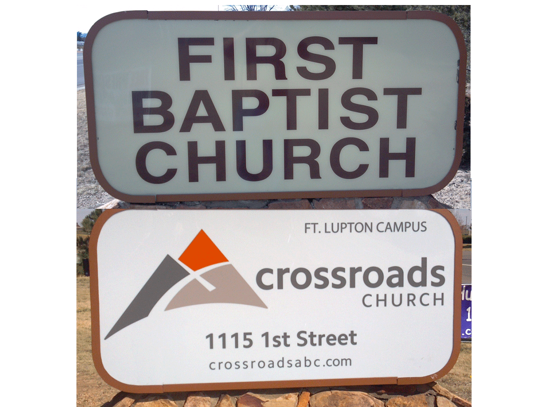 Ft Lupton Sign before and after